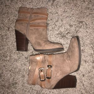 Natural Brown Suede Ankle Boots